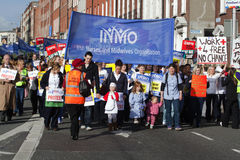 Protest over planned cuts. 2011/2/16:The Irish Nurses and Midwives Organisation has warned that student nurses who face pay cuts could harness a block of 200,000 royalty free stock images