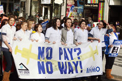 Protest over planned cuts. 2011/2/16:The Irish Nurses and Midwives Organisation has warned that student nurses who face pay cuts could harness a block of 200,000 royalty free stock photo