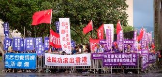 Protest på kinesisk nationell dag i Hong Kong Royaltyfri Foto