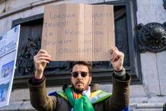 Protest in Parijs tegen een vijfde mandaat van Bouteflika van Algerije stock foto's