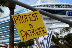 Protest Is Patriotic. Protest Sign at 2017 Women`s March in San Diego Stock Image