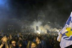 Protest peopl in vulkanische ` situacion van ` Stock Afbeeldingen
