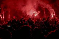 Protest peopl in vulkanische ` situacion van ` Royalty-vrije Stock Afbeelding