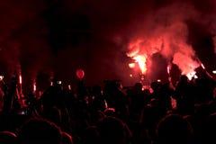 Protest peopl in vulkanische ` situacion van ` Stock Foto