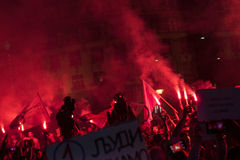 Protest peopl in vulkanische ` situacion van ` Royalty-vrije Stock Afbeeldingen