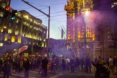 Protest peopl in vulkanische ` situacion van ` Stock Foto's