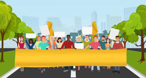 Protest People with big placard and megaphones on demonstration. Crowd protesting people composition on the city park Royalty Free Stock Photo