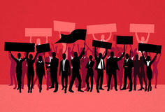 Protest People Crowd Silhouette Over Red Royalty Free Stock Images