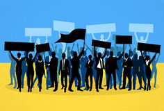 Protest People Crowd Silhouette Over Ukraine Royalty Free Stock Photos