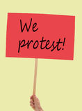 Protest placard, banner held by woman. Politics etc. Stock Images