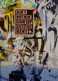 Protest poster against rent and housing costs. Poster protesting against rent and housing cost increases in East London Stock Photography