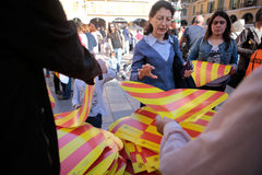 Protest pro catalonia catalan culture and language in the Spanish island of Mallorca. Protesters pick up laces and hearts with the Catalonia flag in Plaza Mayor Royalty Free Stock Photography