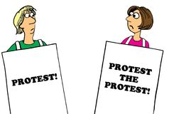 Protest the protest. Political cartoon about a woman protesting the protest Stock Images