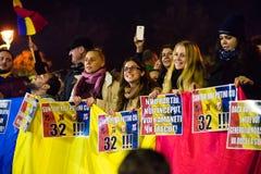 Protest przeciw coruption i Rumuńskiemu rzędowi Obrazy Stock