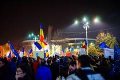 Protest przeciw korupci w Bucharest, Rumunia fotografia stock