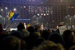 Protest przeciw korupcj reformom w Bucharest fotografia royalty free