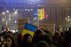 Protest przeciw korupcj reformom w Bucharest obraz stock