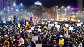 Protest przeciw rzędowi w Bucharest Zdjęcie Royalty Free