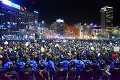 Protest przeciw rzędowi w Bucharest Obraz Royalty Free