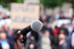 Protest. Public demonstration. Microphone. Royalty Free Stock Image
