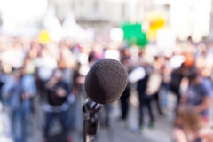 Protest. Public demonstration. Microphone. Stock Image