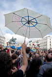 Protest at the puerta del sol square in Madrid Royalty Free Stock Images