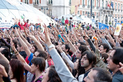 Protest at the puerta del sol square in Madrid Stock Photo