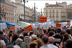 Protest at the puerta del sol square in Madrid Royalty Free Stock Photography