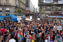 Protest at the puerta del sol square in Madrid Stock Images