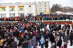 Protest rally in Kandalaksha against rising utility rates Stock Image