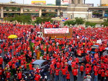 Protest rally in Thailand victory monument. Followers of the opposition party in Thailand (the red shirt protesters) blocking major roads in Bangkok on the 9th Stock Image