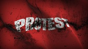 Protest Red grunge dirty flag waving on wind. Protest Red background fullscreen grease flag blowing on wind. Realistic filth fabric texture on windy day Royalty Free Stock Photo
