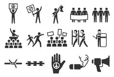 Protest and riot icons. Flat Design Illustration: Protest and riot icons royalty free illustration