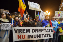 Protest in Romaia. Romanians protesting against the Gouvernment in Timisoara Stock Image