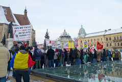 Protest in Romania against ACTA. The protests against the Anti-Counterfeiting Trade Agreement continue to spread in cities across Europe. In Cluj Napoca, Romania Stock Images