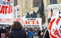 Protest in Romania against ACTA. The protests against the Anti-Counterfeiting Trade Agreement continue to spread in cities across Europe. In Cluj Napoca, Romania Royalty Free Stock Image