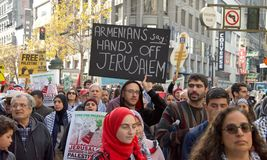 Protest in San Francisco, CA regarding Jerusalem declared capitol of Isreal Stock Images
