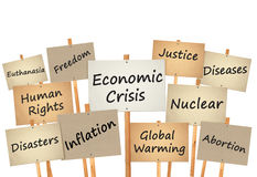 protest sign board world problem Stock Image