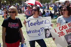 Protest sign featuring Charlie Sheen. Several protesters at the Save Texas Schools Rally invoked Charlie Sheen's image and catchphrases, and other internet memes Royalty Free Stock Image