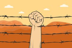 Protest sign with hand fist and barbed wire as background and mountain desert Stock Photos