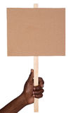 Protest sign. Held by a man, isolated on white background stock photo