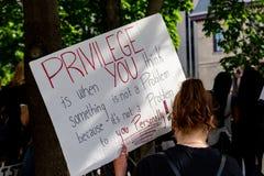 Protest Sign on White Privilige in Ottawa