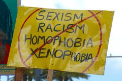 Protest Sign. At 2017 Women`s March in San Diego stock images