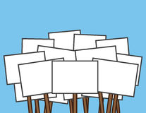 Protest Signs Blank. Large blank white protest signs royalty free illustration