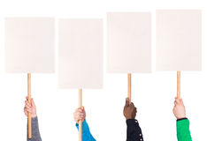 Protest signs in hands. Isolated on white background royalty free stock photography