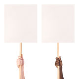 Protest signs in hands. Isolated on white background royalty free stock image