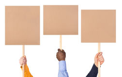 Protest signs in hands. Isolated on white background royalty free stock images