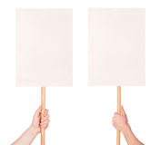 Protest signs in hands. Isolated on white background stock photos
