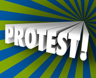 Protest Speak Out Against Injustice 3d Word Object Demonstrate. Protest word in 3d letters shooting out of a colorful funnel to illustrate speaking out against Royalty Free Stock Image