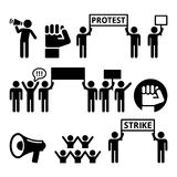 Protest, strike, people demonstrating or fighting for their rights icons set. Social issues - people protesting or striking  icons set Royalty Free Stock Images